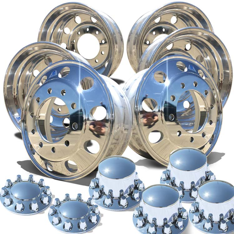 "Alcoa's Mirror Polish on 22.5"" x 8.25"" 6 Wheel Kit with Rounded Caps Regular Nut Cover Option"