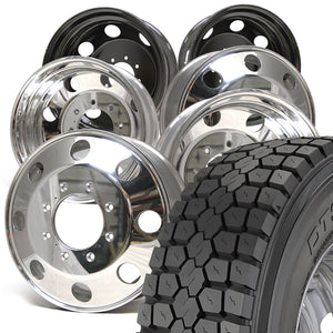 "Chevy/GMC 3500 33"" DynaTrac DT340 245/70R19.5 Mounted 19.5 American Force Kit 8x210"