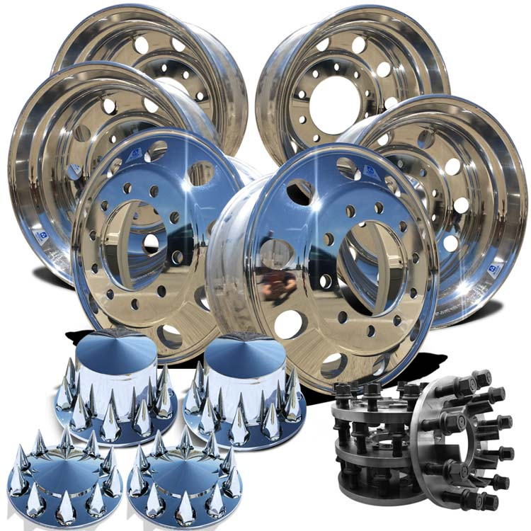 22.5 Alcoa LvL ONE Truck Wheels Adapter and Pointed Spikes Hub Cover Kit