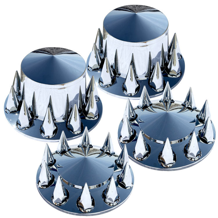 4 Pointed Hub Covers with 40 Spiked Lug Nut Covers