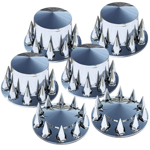 Pointed Cap and Spike Nut Covers 6 Piece Tandem Rear Axle Set