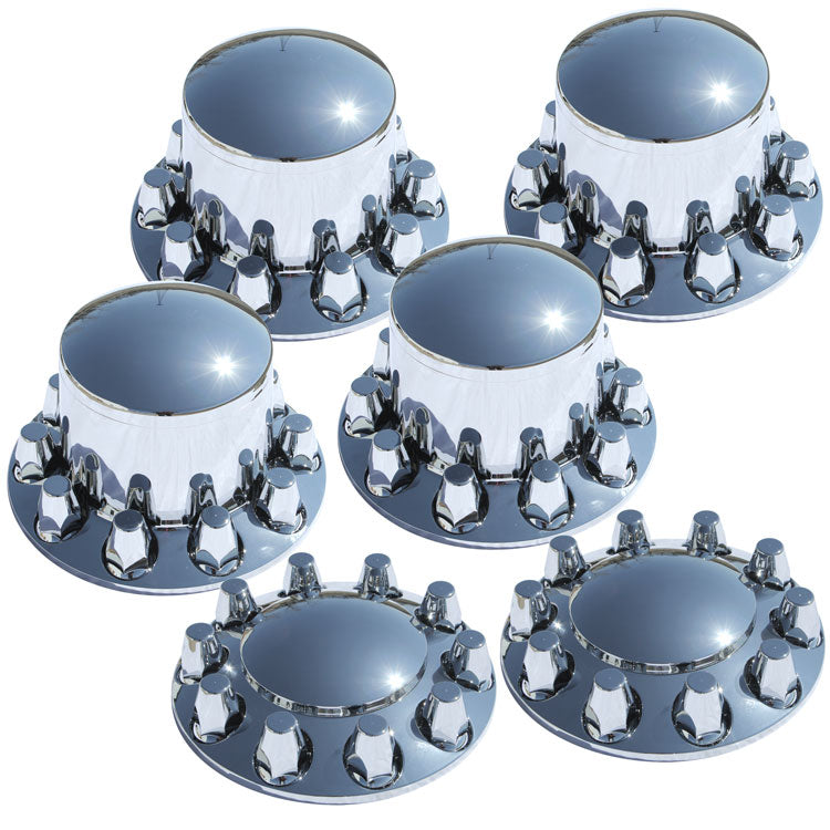 Rounded Cap and Regular Nut Covers 6 Piece Tandem Rear Axle Set