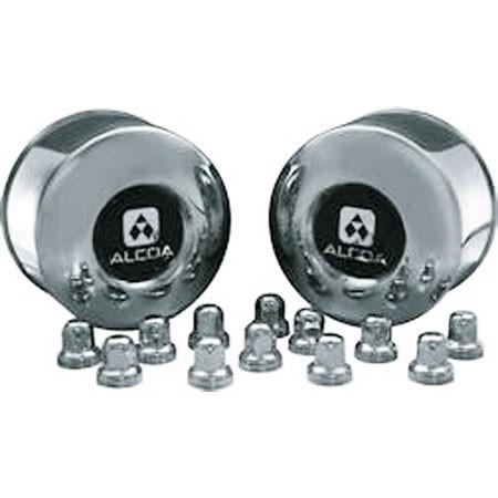 2 Alcoa Stainless Steel Rear Dual Hub Covers for Sprinter with 12 Stainless Steel Alcoa Lug Nut Covers