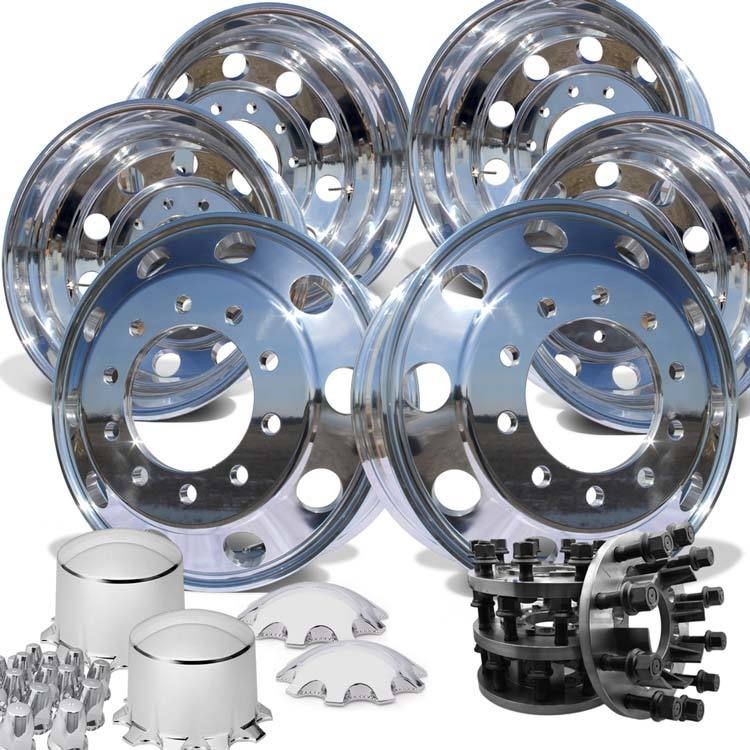 "22"" High Polished 1994-2018 Dodge Ram 3500 DRW 10x285.75mm 6 Wheels With Chrome Caps and Adapter Kit"