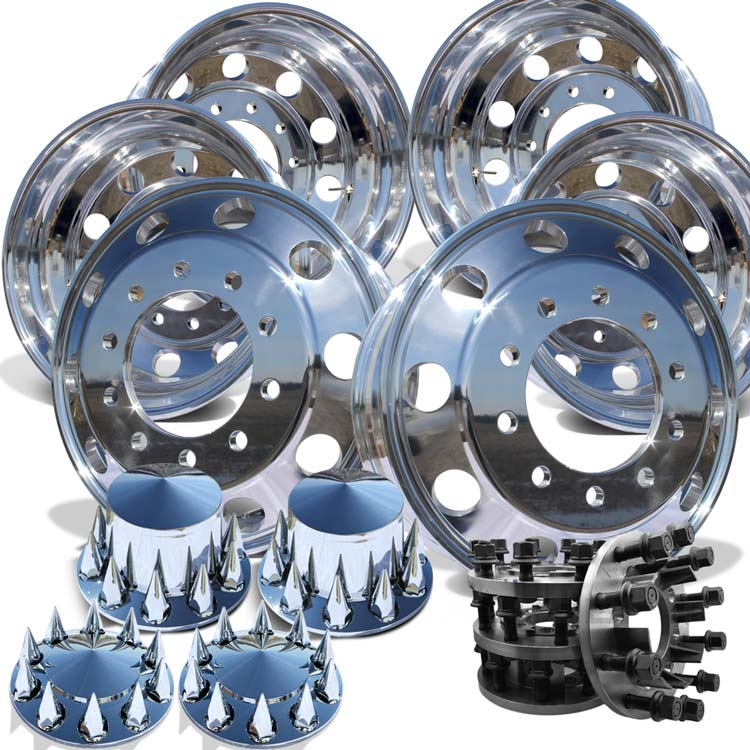 24 AWM High Polished Both Sides 1994-2018 Dodge Ram 3500 DRW 10x285.75 6 Wheels With Chrome Caps And Adapter Kit