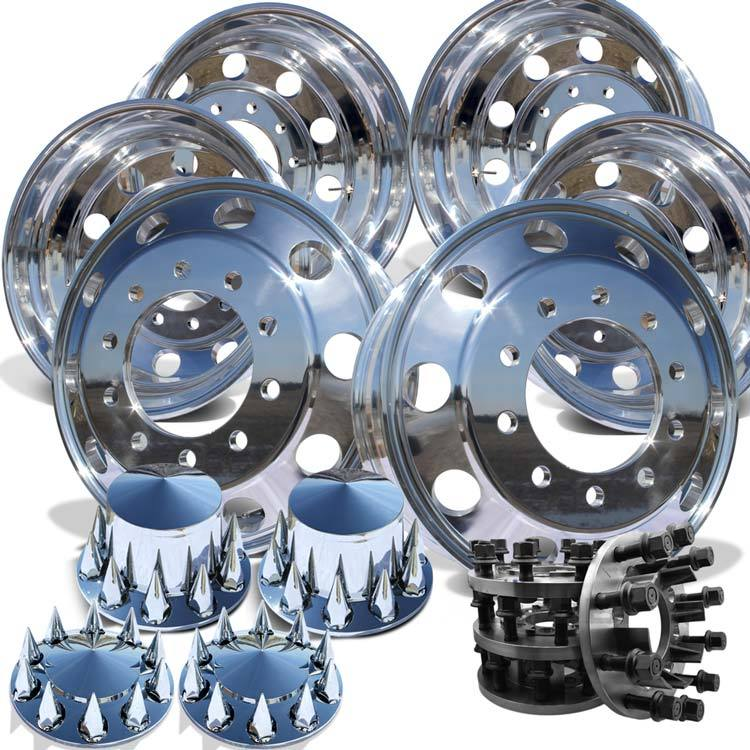 22 AWM High Polished 1994-2018 Dodge Ram 3500 DRW 10x285.75mm 6 Wheels With Chrome Caps and Adapter Kit