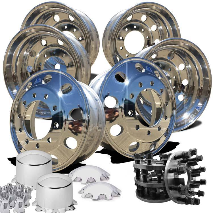 22.5 Alcoa High Polished Both Sides 2019-Present Dodge Ram 3500 DRW 10x285mm 6 Wheel Kit With 8 to 10 Lug Adapter