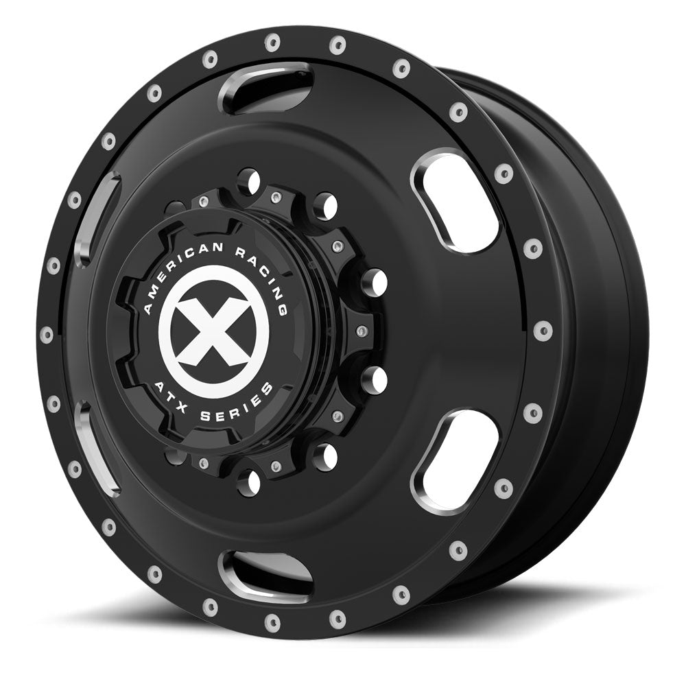 Black Oval Aluminum Semi Truck Wheel