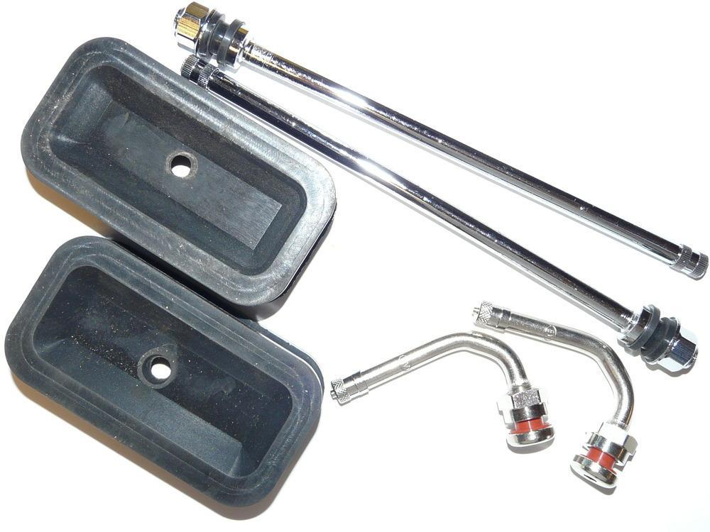 "Kit Includes 7"" Reverse Mount Chrome Valve stems, 3.75"" Triple Bend Chrome Valve Stems and Oval Rubber Grommet Stabilizers"