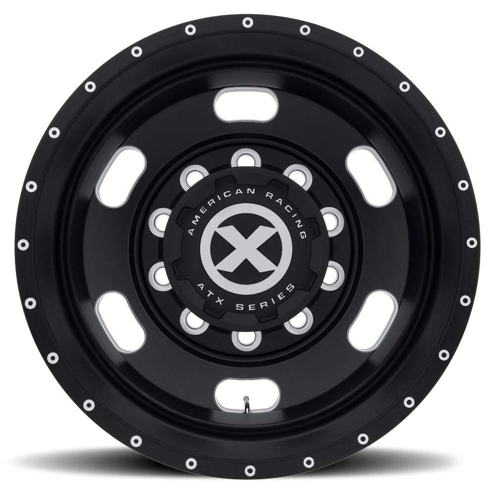 Black ATX Oval Aluminum Truck Wheel Drive Trailer Dual Outer