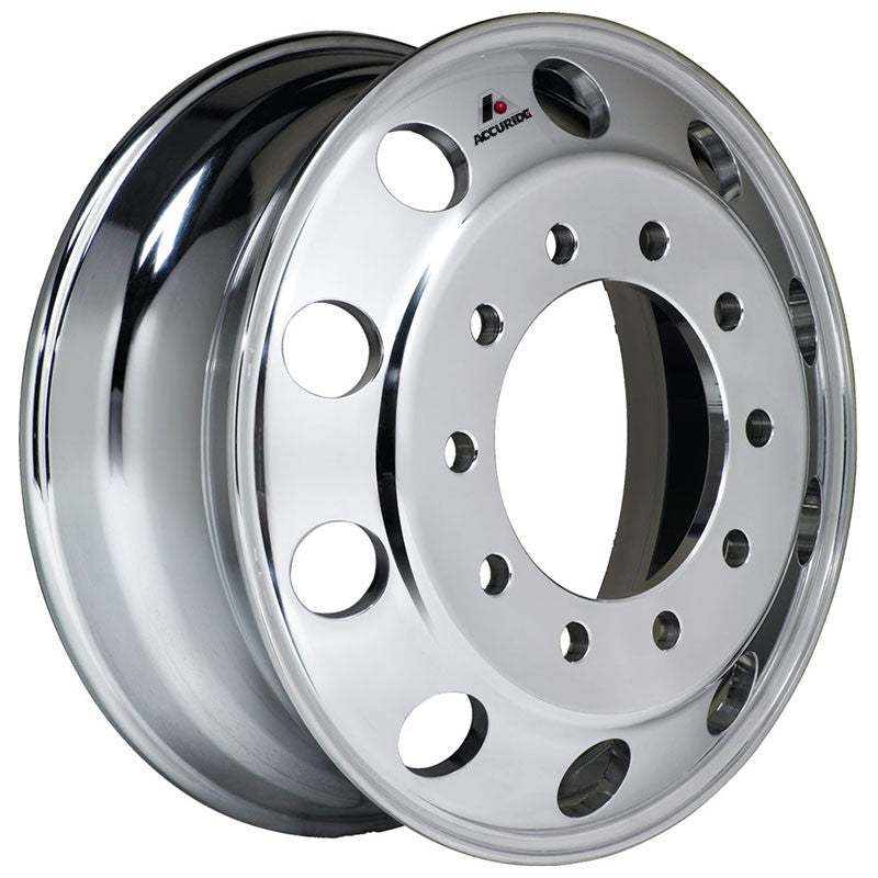 Front View 22.5x7.50 Hub Piloted Accuride Wheel-Polished In (Drive/Trailer)