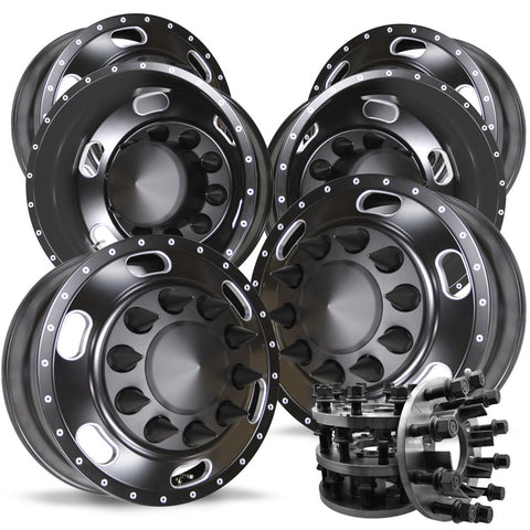 1-Ton Dually 8 to 10 lug Adapter w/ 22.5 Black Indy Wheels