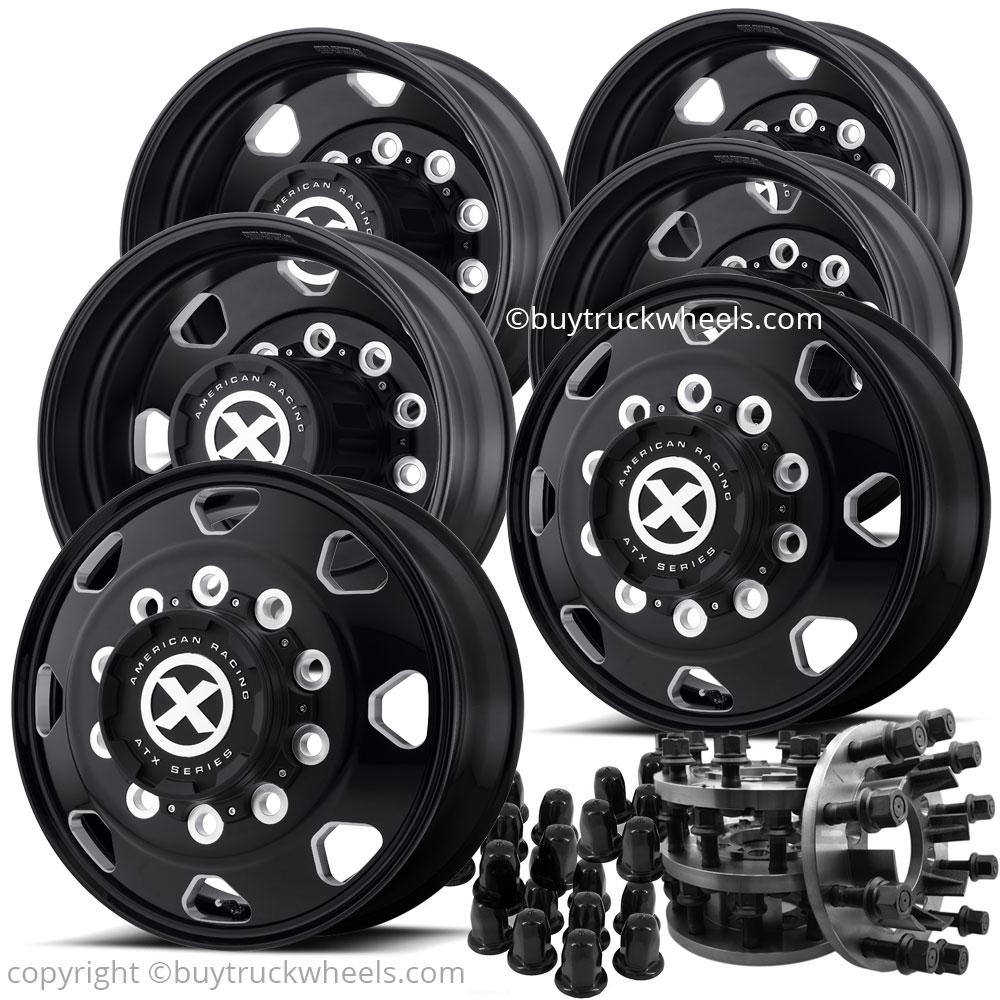1-Ton Dually 8 to 10 lug Adapter w/ 22.5 Black Octane Wheels