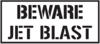 Beware Jet Blast Letter Transfer Sticker-Black