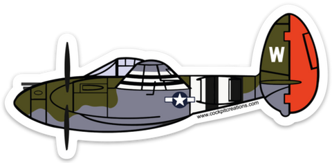 P-38 Lightning Red Tail Sticker
