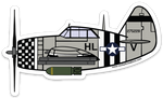 P-47 Thunderbolt Silver Sticker