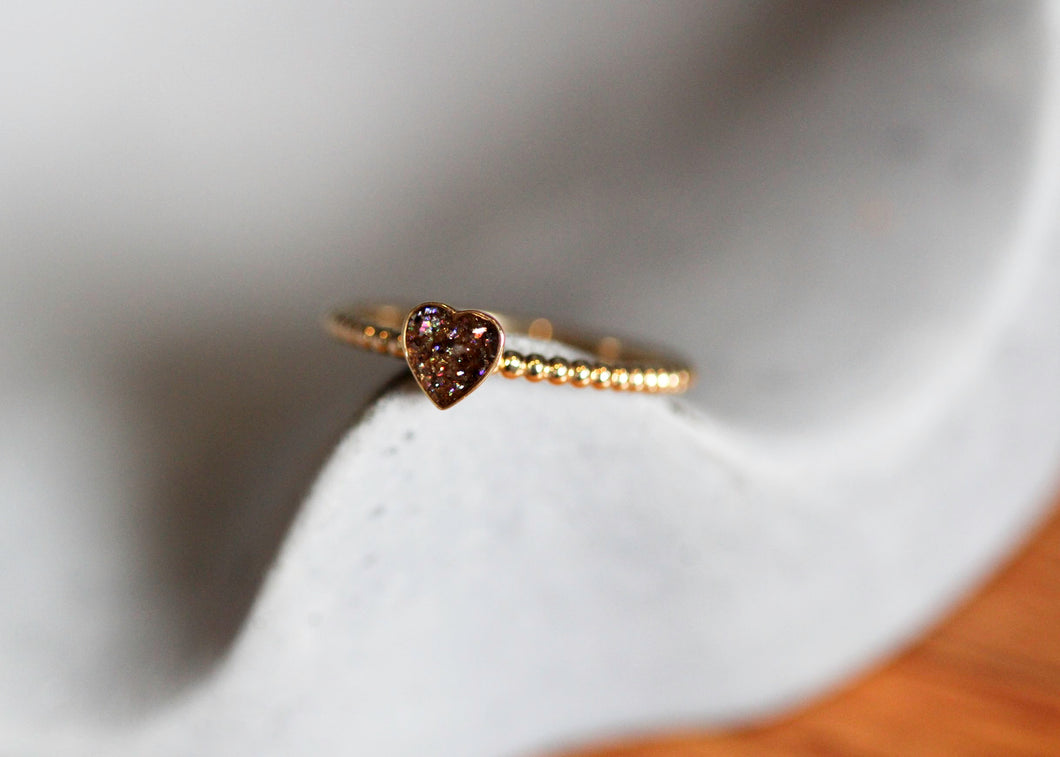 Stacking Ring w/Band Choice - Heart