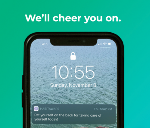 HabitAware Keen2 - New App showing Notification with Supportive Message