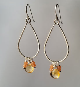 Citrine-Moonstone Sterling Silver Tear Drop Earrings