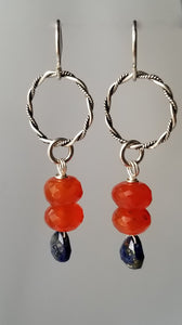 Twisted Wire Sterling Silver Earrings with Carnelian and Lapis