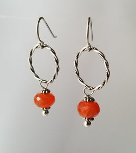 Carnelian and sterling silver twisted wire circle earrings