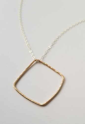 Large Organic Square Pendant Necklace-Gold Fill