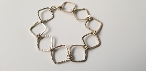 Organic Hammered Square Bracelet in Sterling Silver