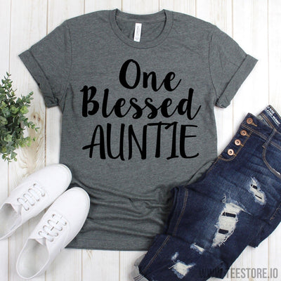 www.teestore.io-Aunties Shirt - One Blessed Auntie Tee Shirt - Favorite Auntie Shirt - Auntie Tee - Gift For Auntie - Auntie Shirts Tshirt Funny Sarcastic Humor Comical Tee | TeeStore.io