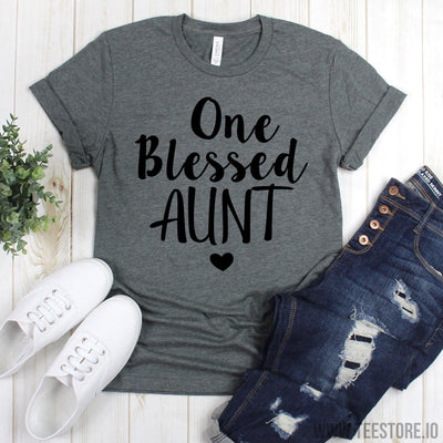 www.teestore.io-Aunts Shirt - One Blessed Aunt Tee - Funny Aunt Shirt - Favorite Aunt Tee Shirt - Aunt Tee - Gift For Aunt Tshirt Funny Sarcastic Humor Comical Tee | TeeStore.io