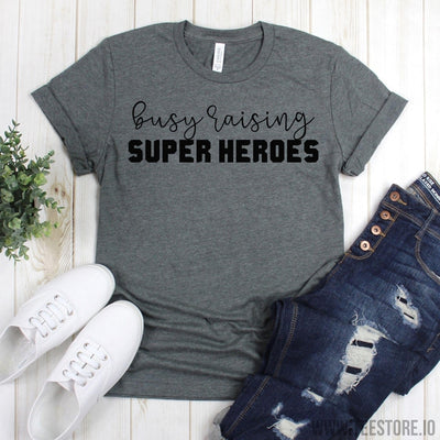 www.teestore.io-Boy Mom - Busy Raising Super Heores - Super Hero Mom Shirt - Boy Mama - Mom Of Boys Tshirt Funny Sarcastic Humor Comical Tee | TeeStore.io