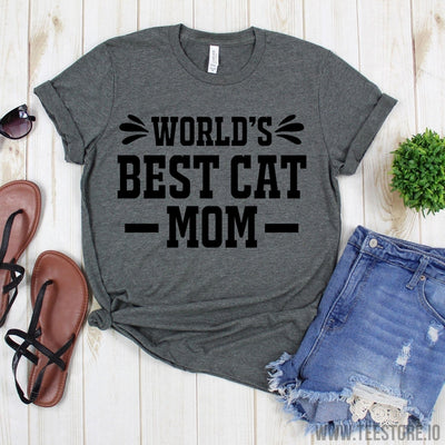 www.teestore.io-Cat Lover Shirt - World's Best Cat Mom T-Shirt - Mother Tee - Gift For Mom - Mommy Tee Shirt Tshirt Funny Sarcastic Humor Comical Tee | TeeStore.io