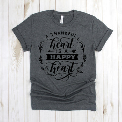 www.teestore.io-Fall Shirts - A Thankful Heart Is A Happy Heart Cursive Wreath - Thankful Tee - Thanksgiving Shirt - Cute Fall Shirts Tshirt Funny Sarcastic Humor Comical Tee | TeeStore.io