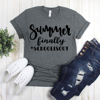 www.teestore.io-Funny Teacher Tee Shirt - Summer Finally #Schoolisout Tee Shirt - Teacher Life Shirt - Kindergarten Teacher Tshirt Funny Sarcastic Humor Comical Tee | TeeStore.io