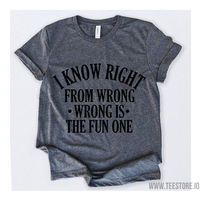 www.teestore.io-I Know Right From Wrong Wrong Is The Fun One Tshirt Funny Sarcastic Humor Comical Tee | TeeStore.io