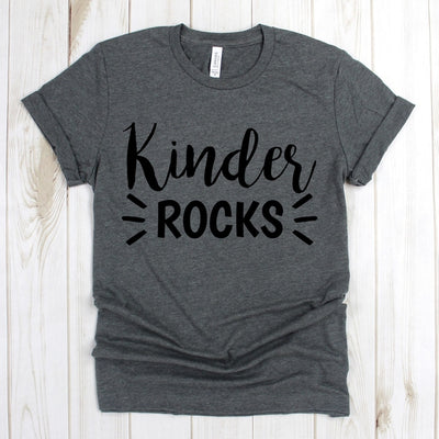 wwwteestoreio-Kindergarten Teacher Shirts - Kinder Rocks Tee Shirt - Kinder Teacher Gift - Teacher T Shirt