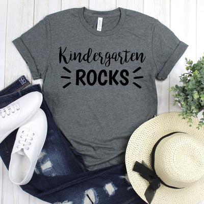 wwwteestoreio-Kindergarten Teacher Shirts - Kindergarten Rocks T Shirt - Kinder Teacher Gift - Teacher Tee Shirt