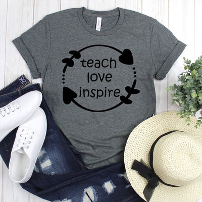 wwwteestoreio-Kindergarten Teacher Tee - Teach Love Inspired Tee Shirt - Teacher Shirt - Field Trip Shirts for Teachers