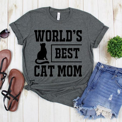 wwwteestoreio-Mommy Tee Shirt - World's Best Cat Mom Tee Shirt - Mother Tee - Cat Lover Shirt - Gift For Mom