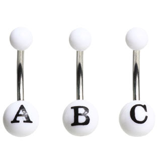 White/Black Initial Belly Button Ring