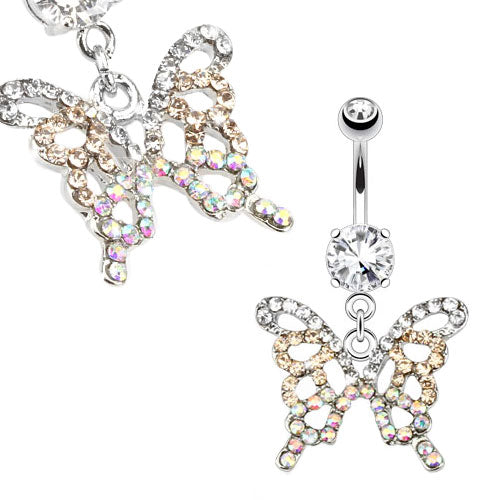 Sparkling Butterfly Belly Button Ring