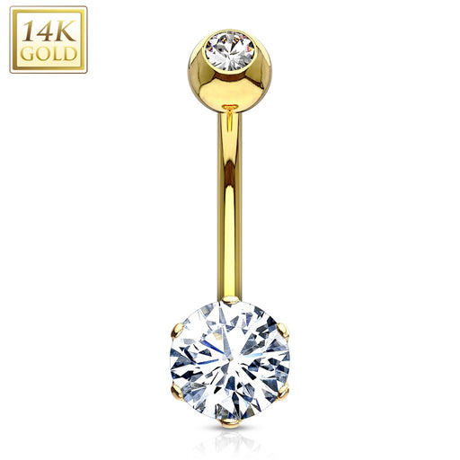 14k Gold Belly Button Ring Round Gem