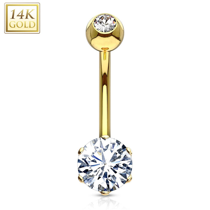 14k Gold Belly Button Ring Round Gem Belly Bling
