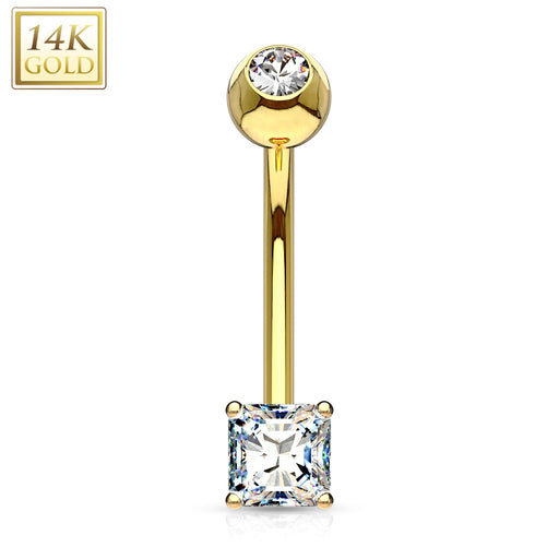 14 KT Solid Gold Square CZ Belly Ring