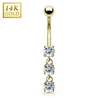 14K Dangling CZ Belly Ring