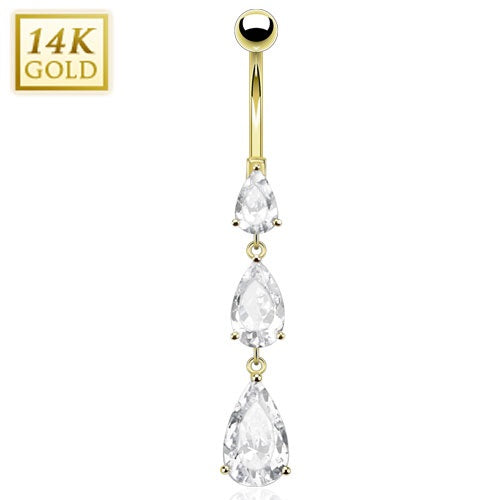 14K Solid Gold Cascading CZs Belly Ring
