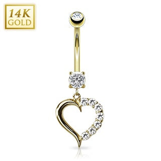 14K Solid Gold CZ Heart Belly Ring