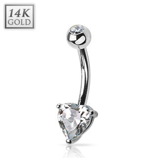 14 KT White Gold Heart Belly Ring