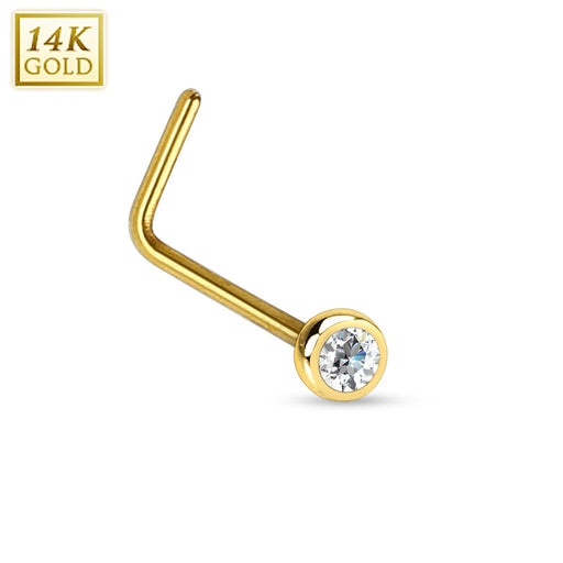 14KT Gold L Bend Nose Ring