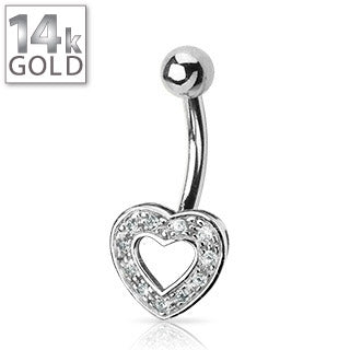 14 kt White Gold Gemmed Heart Belly Ring