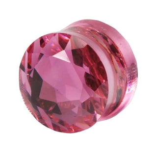 00 Gauge Pink Cubic Zirconia Saddle Plug
